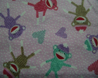 Sock Monkey Pink Flannel Fabric  (1 yd 24 inches)