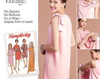 Simplicity Pattern 8049 Misses' Three Armhole Back-Wrap Dress in Two Lengths