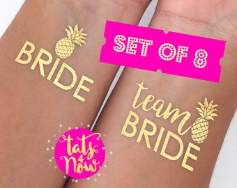 Bachelorette tattoo, Team Bride, PINEAPPLE ©, gold tattoo, bachelorette party tattoo, SET of 8