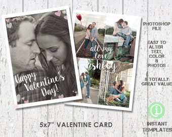 "Valentine Card 5""x 7"" Photoshop Template - C1V002"
