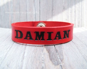 Leather Bracelet, name bracelet, name, text, bracelet,children's bracelet