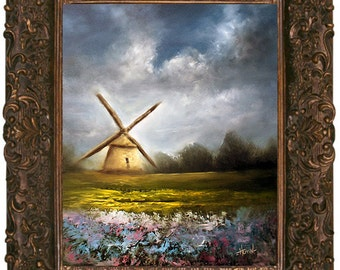 "Windmill Painting, Farm Landscape, Floral Landscape, 16x20 Oil Painting, ""Fields of Forever"""
