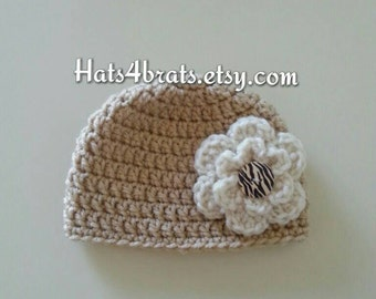 Baby Girls Crochet Hat, Girls Crochet Hat, Baby Crochet Flower Hat, Flower Crochet Hat, Newborn Photo Prop Hat, Infant Crochet Hat, Baby Hat