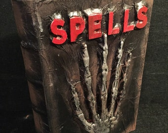 OOAK Spell Book, Potions, Spells, Halloween, prop, creepy art