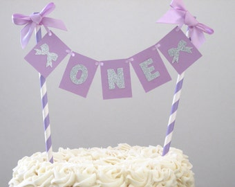 Lavender Silver Cake Bunting Smash Cake Topper Lavender Silver Bow Theme ONE Cake Bunting Girl First Birthday Lavender Silver First Party