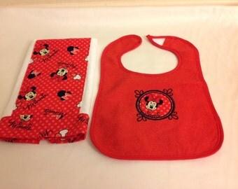 Diaper Burp Cloth and Bib Set