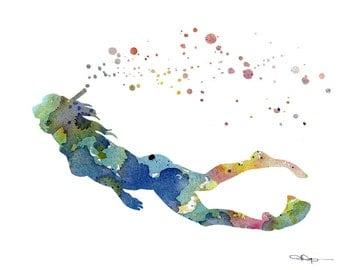 Snorkeler Art Print - Abstract Watercolor Painting - Wall Decor