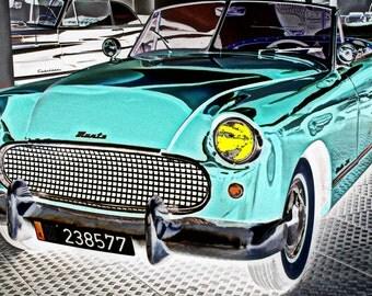VINTAGE CAR PHOTOGRAPH / Munth / auto mix color / Mavi / Decoration / 16 x 10 in/