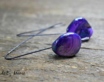 Rustic Pink or Purple Dangle Earrings, Mother of Pearl Minimalist Earrings, Oxidized Copper, Boho, Gypsy, Bohemian Jewelry, Shabby Chic