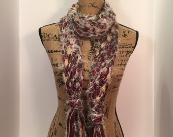 Red braided scarf
