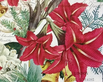 TWO (2) Amaryllis Flowers, Holiday Napkins, Christmas Luncheon Napkins for Decoupage and Paper Crafts