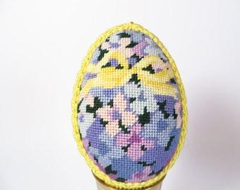 Vintage Embroidered Easter Egg - Yellow Blue Lavender Needlepoint Egg