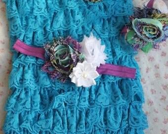 VDAYSALE Turquoise romper, Lace petti romper,infant lace romper, periwinkle lace romper,turquoise lace romper, blue lace romper, photo prop