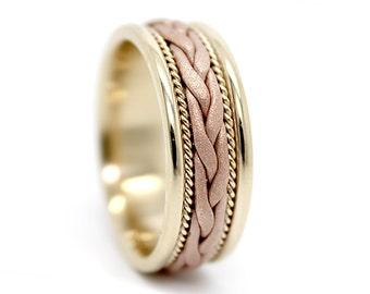 7mm 10k 14k 18k Gold Hand Woven Wedding Ring, Braided Ring, White Gold, Yellow Gold, Rose Gold Wedding Band, Woven Wedding Band, Gold ring.