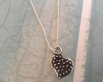 Heart Necklace Sterling Silver Chain Necklace Women's Necklace Girl's Necklace oxidized Silver Heart Charm