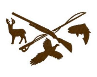 BUY 2 GET 1 FREE - Sports Trio Sportsman Hunting Pheasant, Fish, Deer Machine Emboidery Design in 3 Sizes - 4x4, 5x7, 6x1