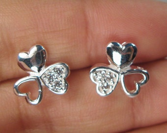 Clover Trebol Stud-Post Earrings 925 Sterling Silver Plated E48