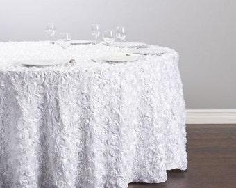Rosette Tablecloth, Rosette Fabric, Rosette Table Cloth, Rosette Table Runner, Rosette Trim, Rosette Table Linens, White Rosette Table Cloth