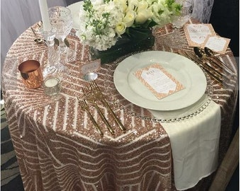 Rose Gold Sequin Tablecloth, Sequin Table cloth, Sparkly TableCloth, Glitter Tablecloth, Striped Table cloth, Art Deco Tablecloth