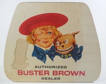 Vintage Buster Brown Authorized Dealer Sign Advertising Original, Masonite