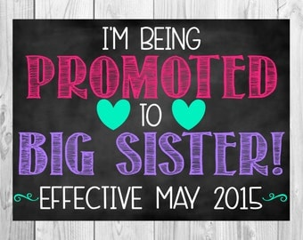 Big Sister Pregnancy Announcement   Big Sister Reveal   Pregnancy Announcement Chalkboard   I'm Being Promoted to Big Sister