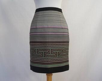 Hmong Print Skirt in Black/Purple
