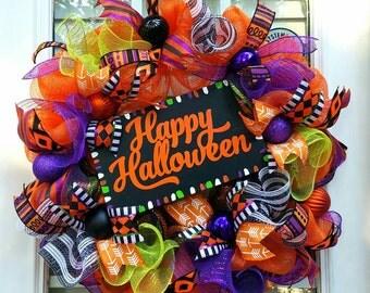 Happy  Halloween Wreath~Halloween Door Wreath~ Front Door Wreath~ Deco Mesh Wreath~Halloween Decor~ Halloween Decoration~Orange&Black Wreath