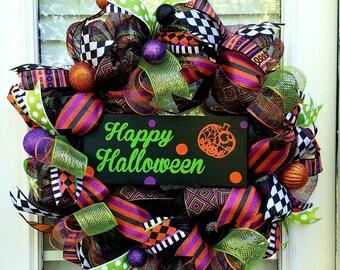 Halloween Wreath~Happy Halloween Wreath~~Halloween Door Wreath~ Front Door Wreath~ Deco Mesh  Halloween Wreath