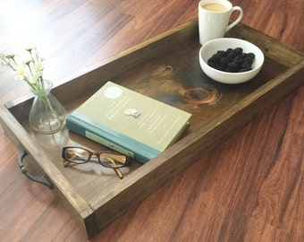 Large wood serving tray, rustic wooden serving tray, farmhouse decor