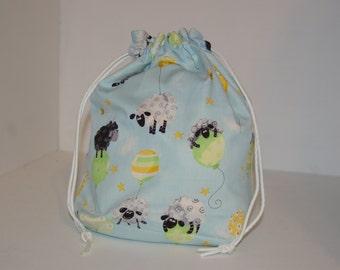 Knitting / Crochet Drawstring Project Bag. Sheep and balloons. Choose the interior color!