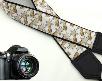 Giraffe camera strap. Black and beige Camera strap. SLR Camera Strap. Padded camera strap. Photographer accessory by InTePro