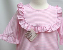 Pink Stripe Monogram Dress for Girls, Toddler Monogrammed Dresses, Girls Personalized Clothing, FREE Personalization sz 2T,3T,4T,5T