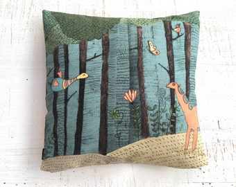 Forest pillow, Throw Pillow Cover, Cushion Covers , illustrated pillow , Throw Pillow , ZIPPER CLOSE, Pillow Covers, forest Decorative