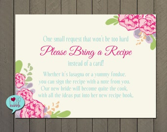 "Kitchen Shower, Recipe Card Request, Recipe instead of card insert PRINTABLE DIGITAL FILE 4"" x 5.5"""