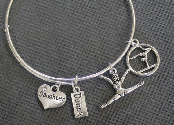 Dance Expandable Bangle Charm Bracelet, Dance Mom Jewelry, Dance Grandmother, Dance Jewelry Gift For Her, I Love to Dance Gift For Mom
