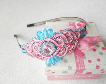 Crystal beaded headband/ pink and blue hair band/ baby princess hair accessories/ bridal headpiece/ pink wedding/ side tiara flower girl