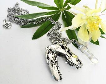Dinosaur Necklace | Trex Necklace | Quartz Crystal | Geek Nerd Necklace | Dinosaur Jewelry | Tyrannosaurus rex | T-Rex Necklace | trex charm