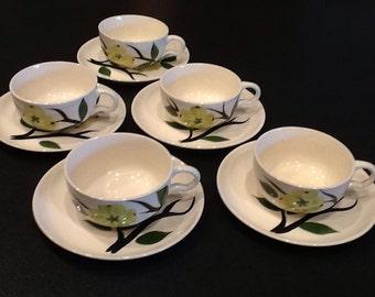 Vintage Blue Ridge 10 Pc. Dixie Dogwood Tea Cups <> 5 Cups 5 Saucers <> Joni Design <> Chartreuse Flower <>1950's <> EXCELLENT CONDITION