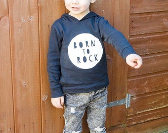 Monochrome born to rock childs thin summer hoodie from 6 months to age 6