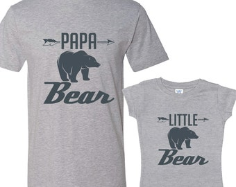 Papa Bear - Little Bear Heather Shirts Daddy and Me Shirt Set Charcoal