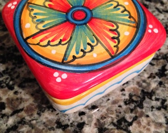 Vintage Signed Deruta Pottery Ceramic Trinket Box Made in Italy