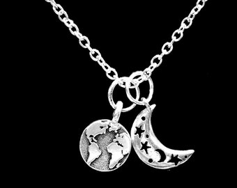 Earth Moon Necklace, World Planet Geography Globe Atlas Travel Crescent Moon Astronomy Necklace