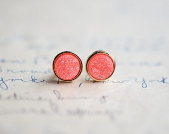 Coral Druzy Earrings - Pink Druzy Earrings - Orange Druzy Earrings - Galactic earrings - stud earrings - trendy druzy earrings