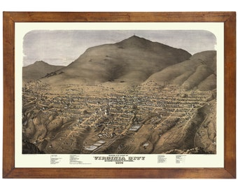 Virginia City, NV 1875 Bird's Eye View; 24x36 Print from a Vintage Lithograph