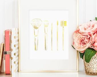Makeup brushes printable, gold foil makeup brush print, faux gold foil makeup print wall art, makeup brushes art, gold foil bedroom decor