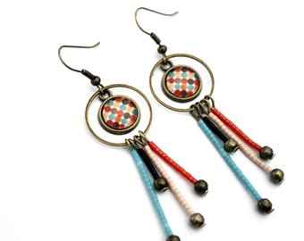 """Bohemian earrings with beads miyuki and cabochon glass """"pea red, Orange, turquoise"""" retro brass"""