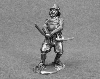Japanese Samurai Historical Figure Action 1/32 Scale Warrior 54mm Statuette Toy Soldier Tin Metal Miniature