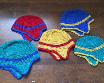 Crochet striped earflap hat