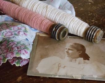 Vintage Antique Photograph, Vintage Antique Sheer Floral Handkerchief, Vintage Antique Wooden Sewing Bobbins, Shabby Chic Display, Destash