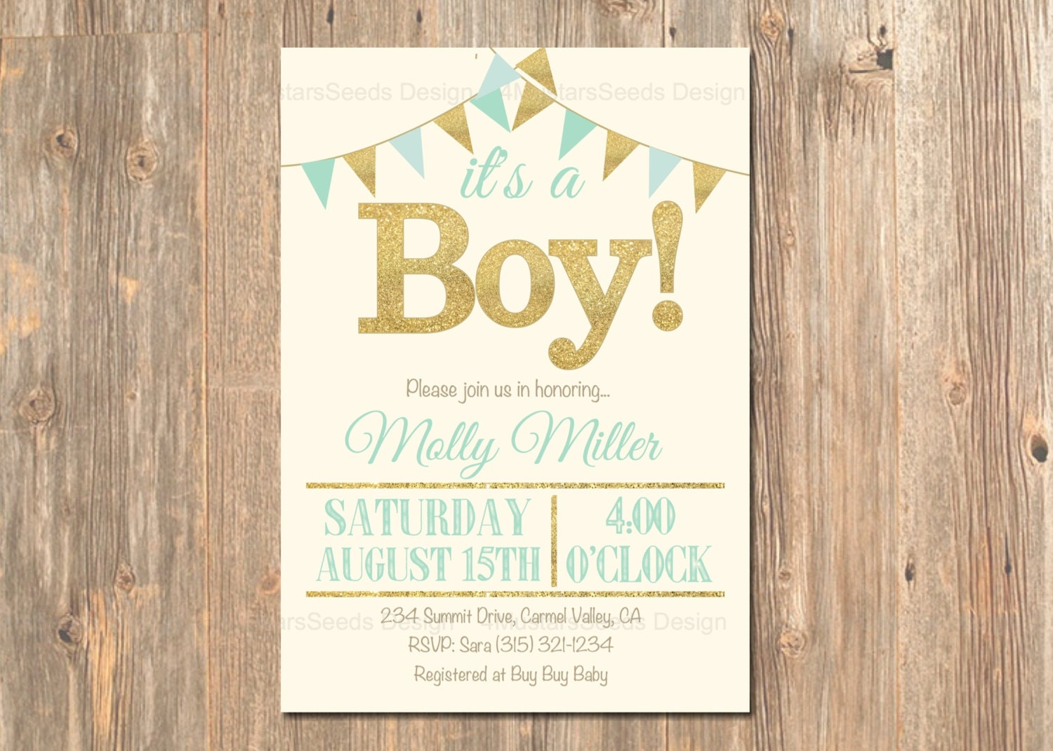 it 39 s a boy baby shower invitation mint gold by 4mustardseeds